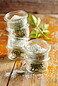 Homemade herb salt with dried dill, tarragon, thyme, rosemary and parsley