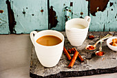 Traditional indian masala chai tea in white cup