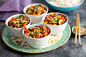 Sweet and sour vegetables with rice