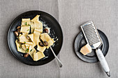 Pappardelle with mushrooms and Parmesan cheese