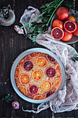 Blood orange and almond upsidedown cake