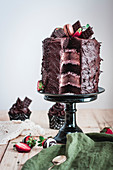 Decadent chocolate strawberry layer cake