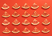 Summer juicy fruit watermelon slices in red background