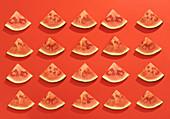 Wassermelonenschnitze auf rotem Untergrund