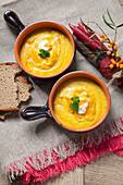 Sea buckthorn and pumpkin soup