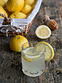 Glass with delicious fresh lemon drink