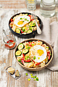 Rice fried with veggies and egg