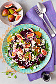 Beetroot, orange and figs salad with feta