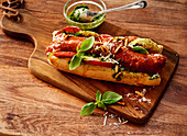 Italian-style hot dog with basil pesto