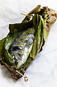 Steamed gilt-head bream in a banana leaf with pesto