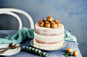 Naked cake with mirabelle plums