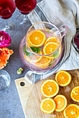 Detox water with orange slices