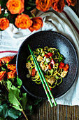 Zoodles with Kung Pao chicken