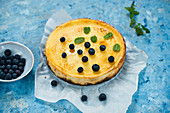 Creme brulee cheesecake with blueberry