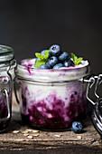 Blueberry yoghurt in a jar