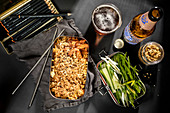 Gebratener Reis mit Kimchi und Erdnüssen zum Lunch