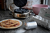 Baking of waffles in a waffle iron