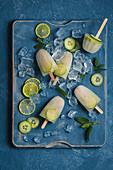 Gin Tonic Eis am Stiel mit Limetten, Minze und Gurke