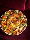 Spiral boreks with vegetable strips