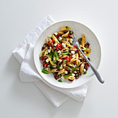 Penne pasta with chilli, feta and olives