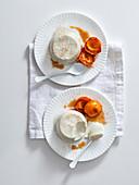 Honey yoghurt panna cotta with caramelized apricots