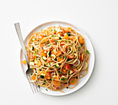 Spaghetti with vegetable ragout