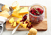 Beetroot and white cabbage relish with cheese and white bread