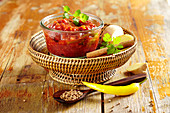 Spicy damson chutney with peperoni