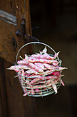 Borlotti beans in a wire basket on a wooden door