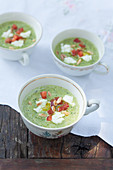 Cold cream of vegetable soup with cream cheese