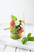 Low carb caprese in the glass