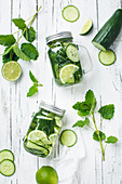 Lime cucumber water with mint