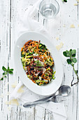 Colorful Zoodles with Bolognese sauce