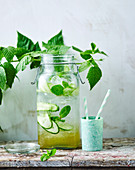 Elderflower, mint and cucmber flavoured water