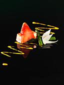 Erdbeer-Grand-Marnier-Gelee mit Grünspargel (Molekularküche)