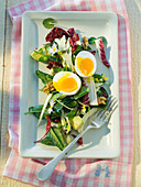 Wild herb salad with avocado and eggs for easter