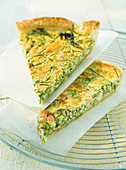 Quiche with hop sprouts