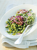 Spaetzle with wild herbs and red onions