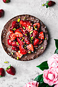 Chocolate Coconut Pie with Strawberries