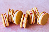 Orange and Raspberry Shortbread sandwich biscuits