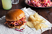 BBQ Pulled Pork In Brioche Bun with Slaw and Crisps