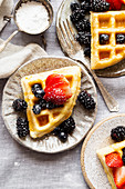 Gluten-free Paleo Waffle with Berries and Maple Syrup