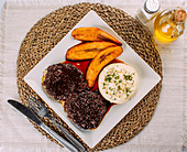 Asado Negro, Beef, Mashed potatoes and Fried plantains (Traditional Venezuelan dish)