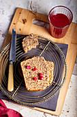 Pomegranate wholewheat loaf