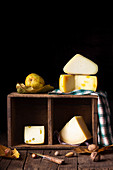 Selection of pecorino cheeses (still life)