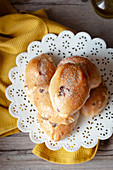 Small sweet breads with raisins and sugar