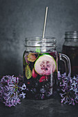 Detox water with blueberries, cucumber and mint
