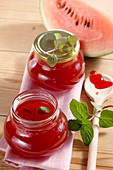Watermelon and raspberry jelly with fresh mint