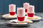 Raspberry mousse served in glasses