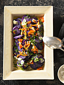 Purple potato salad with garlic
